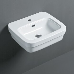 Read Reviews Leavitt Ceramic Rectangular Vessel Bathroom Sink with Overflow By Bissonnet