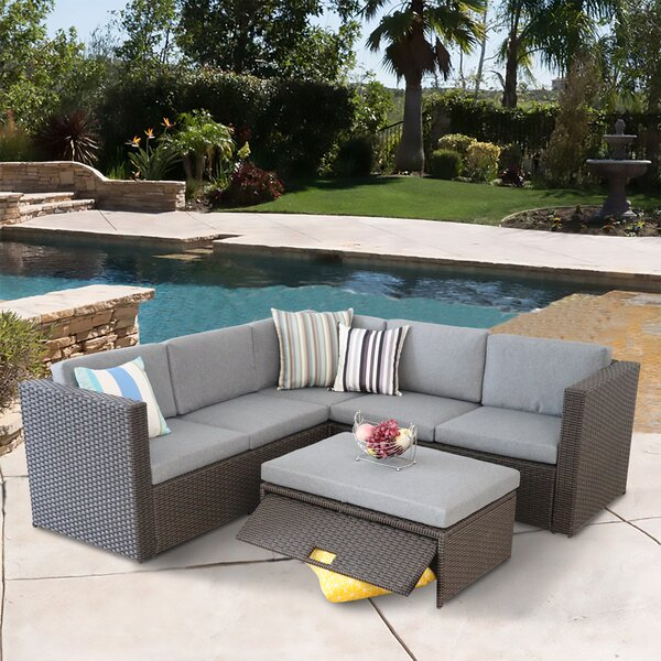 Scenery Outdoor 4 Piece Rattan Sectional Seating Group with Cushions by Ebern Designs