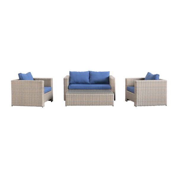 Abigayle 4 Piece Rattan Sofa Seating Group with Cushions by Bayou Breeze