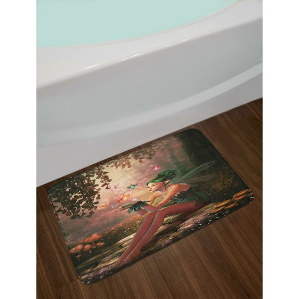 Girl with Wings and Butterflies Digital Composition Computer Graphics Elven Creature Bath Rug by East Urban Home