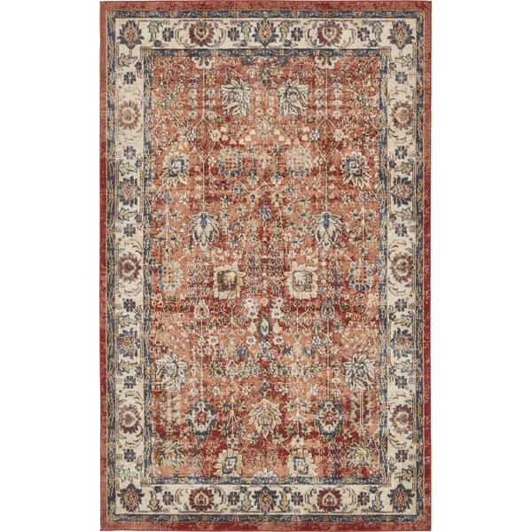 Ballys Terracotta Area Rug by World Menagerie