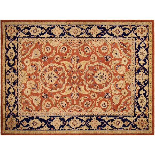 Xenos Hand-Knotted Wool Orange/Blue Area Rug by Astoria Grand