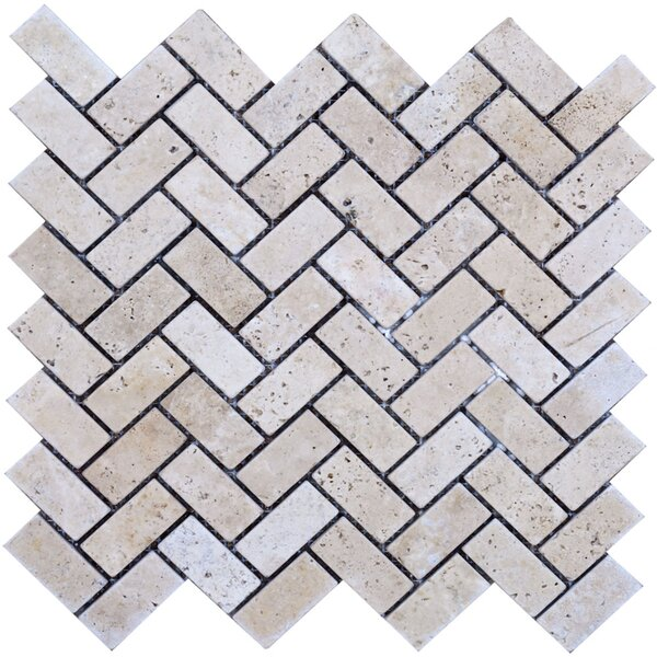Herringbone Travertine Mosaic Tile in Beige by Epoch Architectural Surfaces