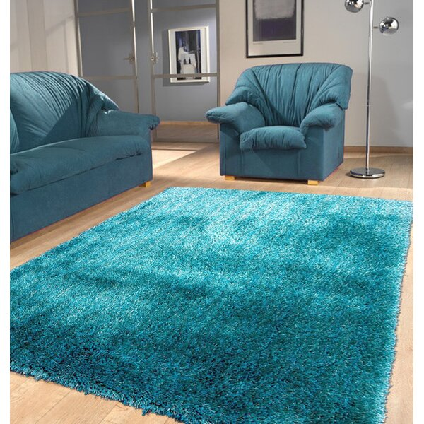 Port Pirie Shag Hand Tufted Turquoise Area Rug by Latitude Run