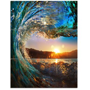 Colored Ocean Waves Falling Down - 3 Piece Graphic Art on Wrapped Canvas Set by Design Art