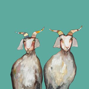 Pair of Goats by Eli Halpin Painting Print on Wrapped Canvas by GreenBox Art