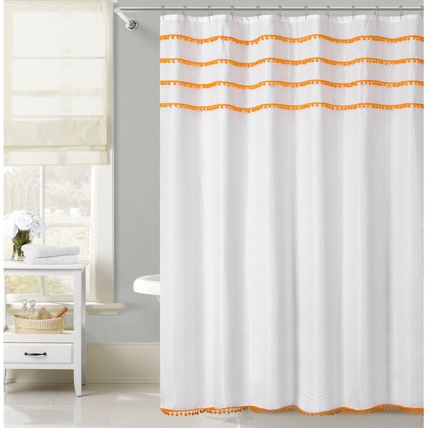 Freya Lace Border Shower Curtain by Bungalow Rose