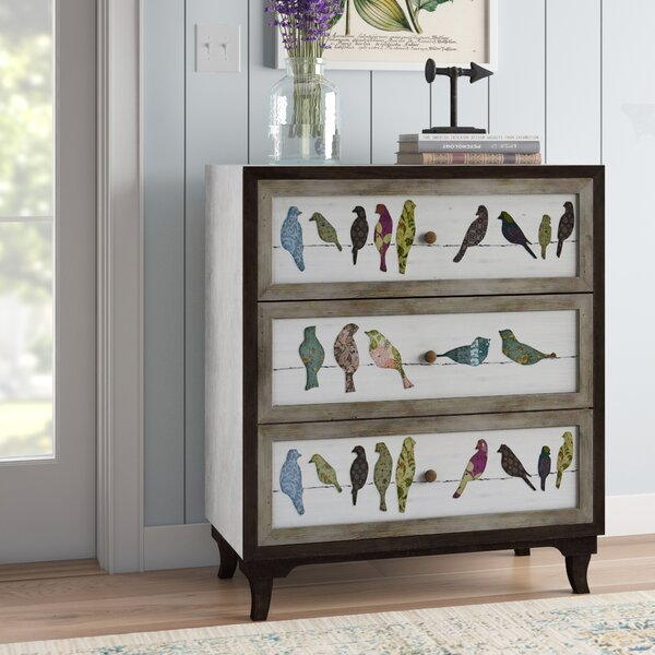 Millwright Birds on a Wire 3 Drawer Painted Chest by August Grove