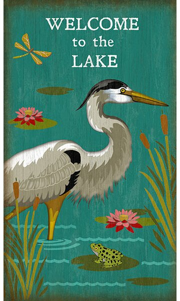 Heron Welcome Graphic Art Plaque by Millwood Pines