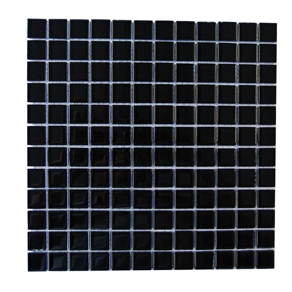 Metro 1 x 1 Glass Mosaic Tile in Black by Abolos