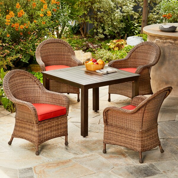 Acree Hacienda 5 Piece Dining Set with Cushions by One Allium Way