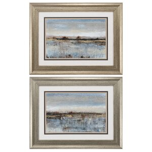 Gray Mist II 2 Piece Framed Painting Print Set by Propac Images