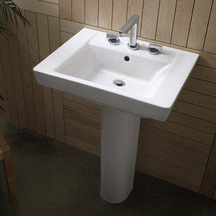 Bargain Boulevard Vitreous China 24 Pedestal Bathroom Sink with Overflow ByAmerican Standard