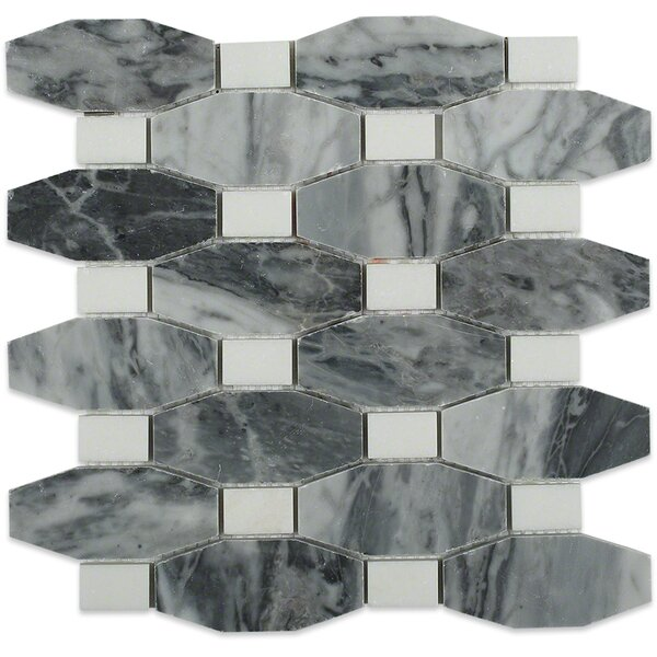 Diapson Thassos Dot Polished Random Sized Marble Mosaic Tile in Dark Bardiglio by Splashback Tile