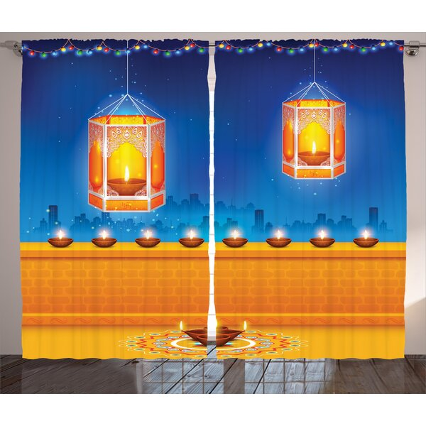 Mayela Graphic Print and Text Semi-Sheer Rod Pocket Curtain Panels (Set of 2) by World Menagerie