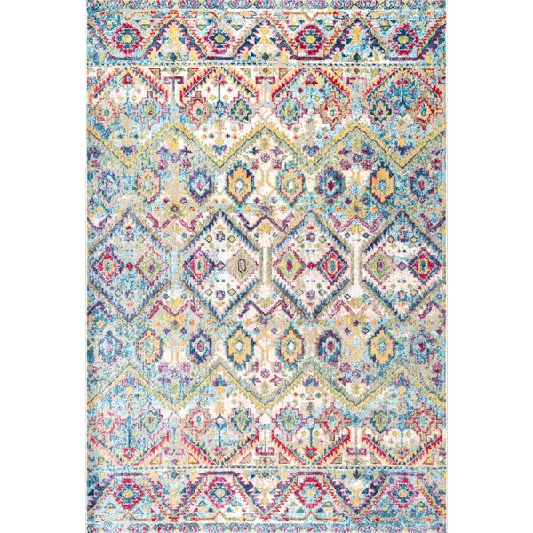 Huldah White/Red/Blue Area Rug by Bungalow Rose