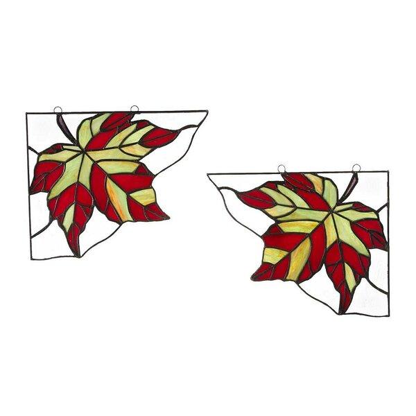 2 Piece Maple Leaf Window Panel Set by Wind & Weather