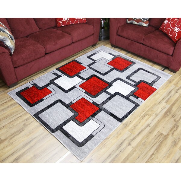 Passion Gray/Red Area Rug by Beyan Signature