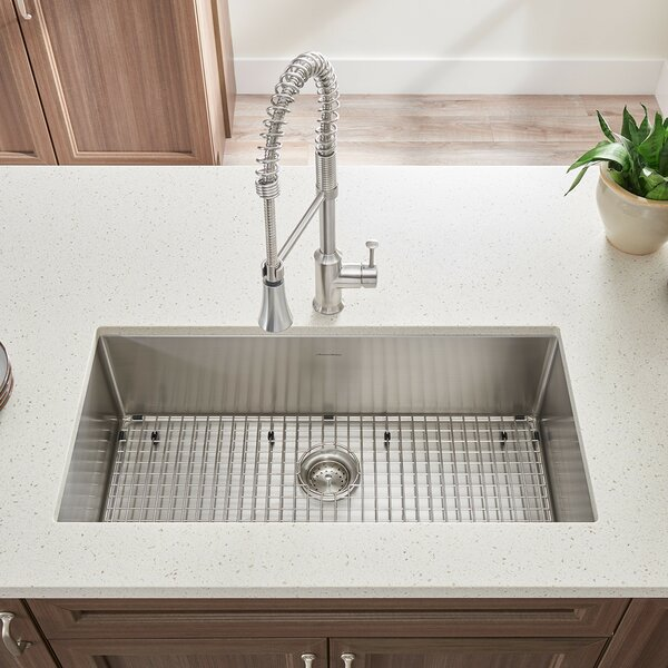 Pekoe 35 L x 18 W Single Bowl Undermount Kitchen Sink with Grid and Drain by American Standard