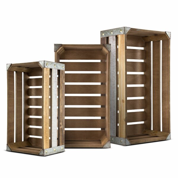 Rectangular Rustic Wood 3 Piece Storage Crate Set