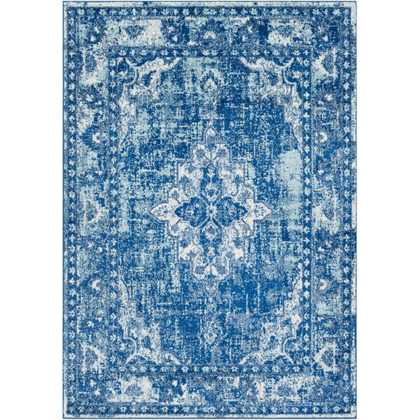 Almonte Distressed Navy/Light Blue Area Rug by Bungalow Rose