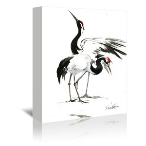 'Japanese Cranes' Graphic Art Print by East Urban Home