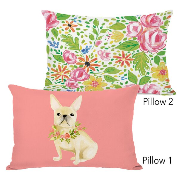 Hailie Frenchie Flowers and Phoebe Flowers 2 Piece Lumbar Pillow Set by Ebern Designs
