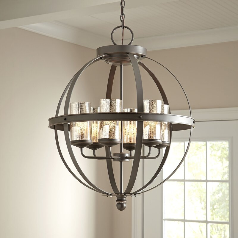 Birch lane tuscany 6 light shaded chandelier reviews birch lane tuscany 6 light shaded chandelier aloadofball Image collections