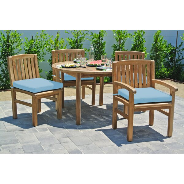 Crescio 5 Piece Teak Sunbrella Dining Set with Sunbrella Cushions by Foundry Select