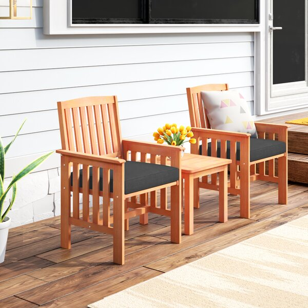 Folse 3 Piece 2 Person Seating Group with Cushions by Brayden Studio
