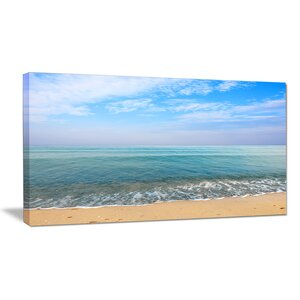 Blue Sky Sand Sun Daylight Large Seashore Photographic Print on Wrapped Canvas by Design Art