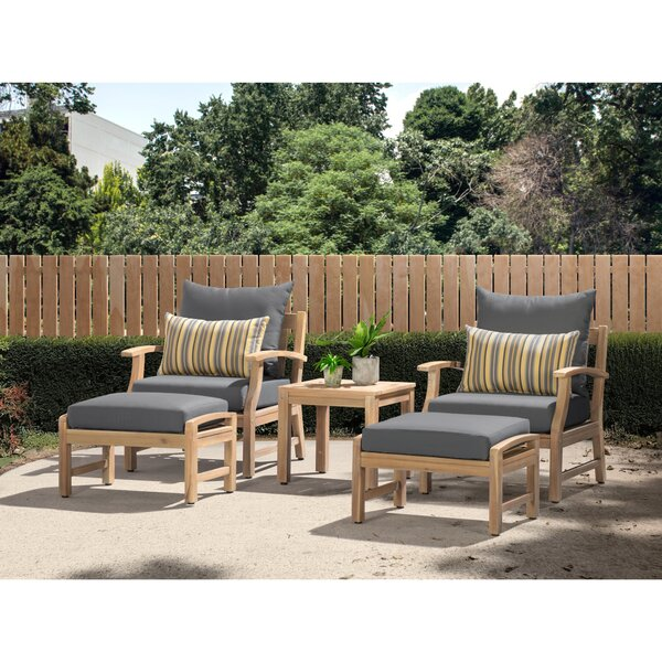 Liliana 5 Piece Sunbrella Seating Group with Cushions by Rosecliff Heights