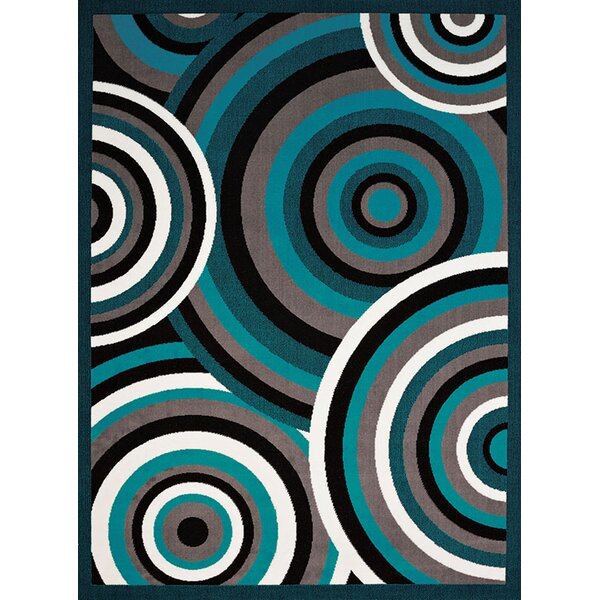 Eloise Aqua/Gray Area Rug by Ebern Designs