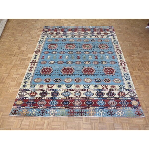 One-of-a-Kind Pafford Hand-Knotted Wool Light Blue Area Rug by Bloomsbury Market