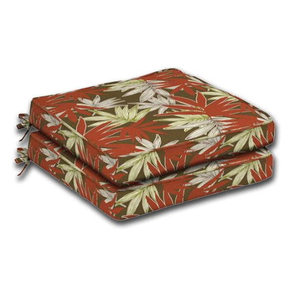 Leaf Print Indoor/Outdoor Dining Dining Chair Cushion (Set of 2)
