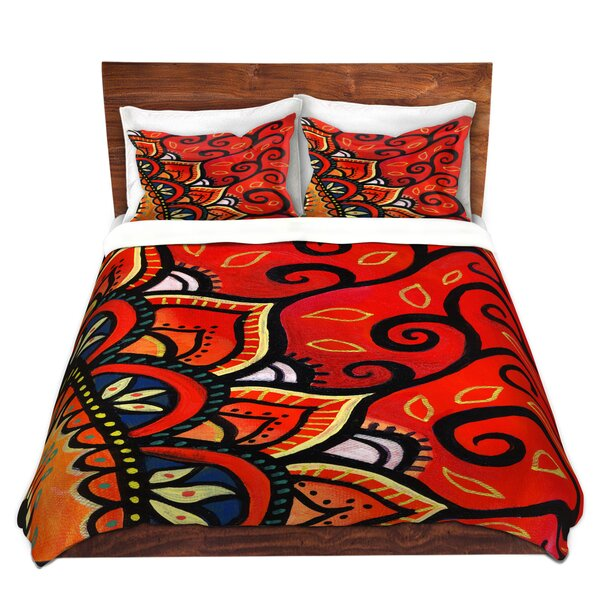 Pinkston Anne Marie Cheung Red Sunburst Microfiber Duvet Covers by World Menagerie