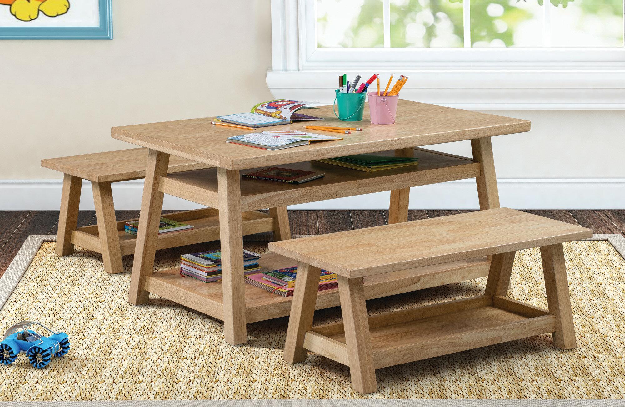 ECR4Kids Sit Nu0027 Stash Kids 3 Piece Table And Bench Set   Wayfair