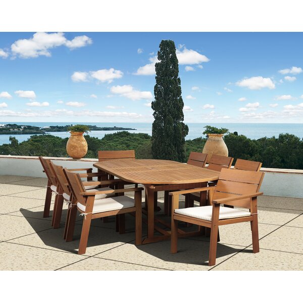 Gaeta 9 Piece Dining Set with Cushions by Beachcrest Home