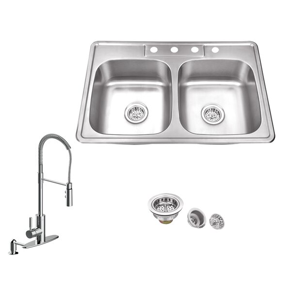 20 Gauge Stainless Steel 33 L x 22 W Double Basin Drop-In Kitchen Sink with Pull Out Faucet and Soap Dispenser by Soleil