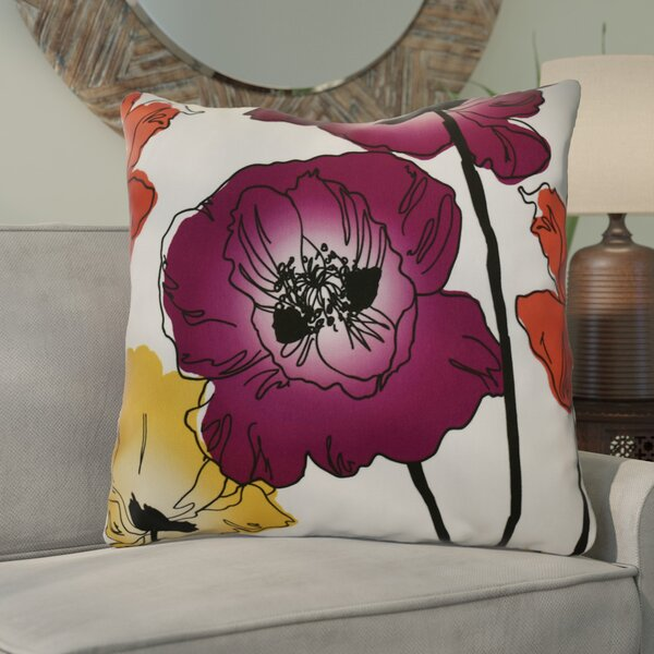 Poppies Floral Euro Pillow by East Urban Home