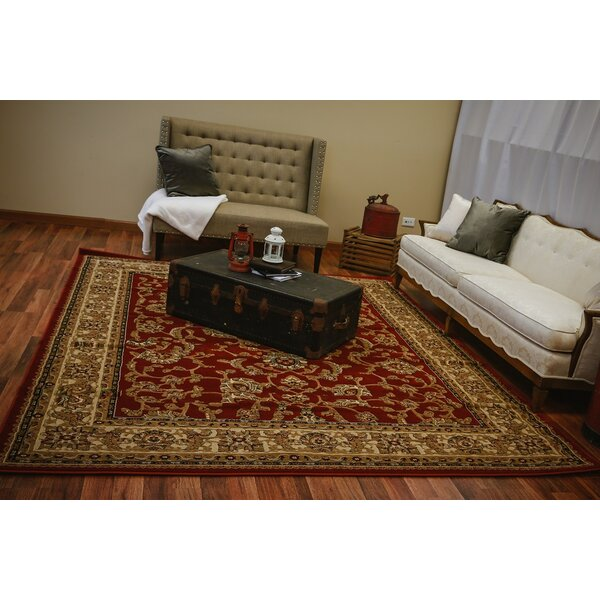 Naudain Traditional Isfahan Persian Burgundy/Beige Area Rug by Astoria Grand