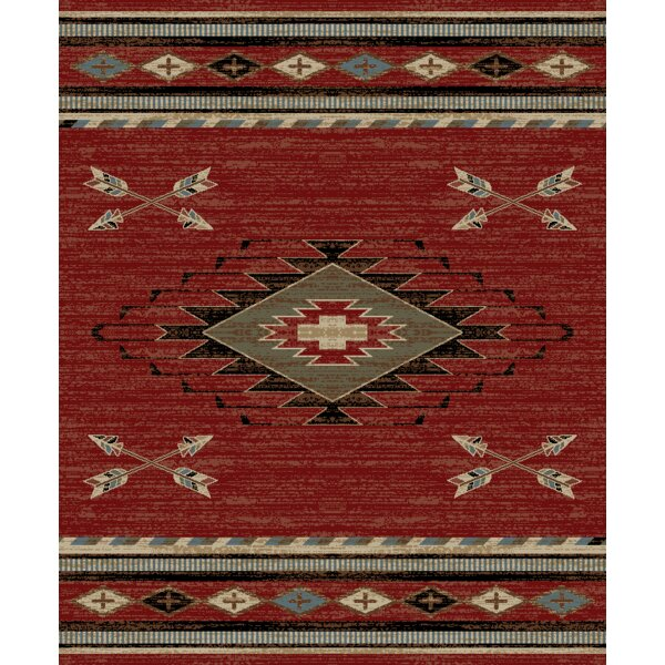 Perrault Red/Gray Area Rug by Loon Peak