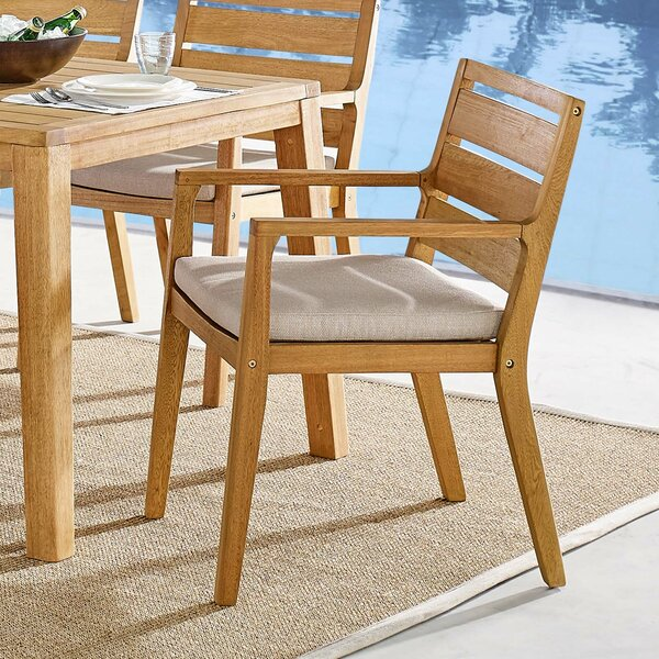 Evelin Patio Dining Chair with Cushion by Rosecliff Heights