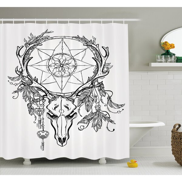 Tattoo Deer Skull with Feathers on its Antlers Holding a Star Shower Curtain Set by Ambesonne