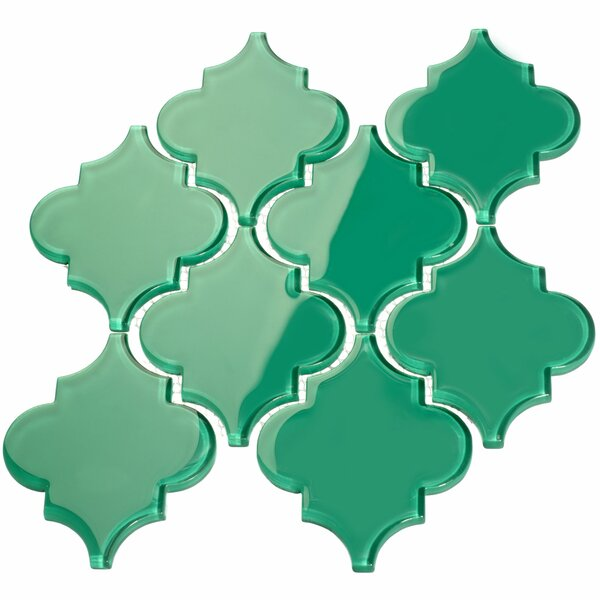 Water Jet 3.9 x 4.7 Glass Mosaic Tile in Emerald Green by Giorbello