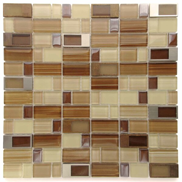 Clasp Rock Glass Mosaic Tile in Brown/Yellow by Tile Focus