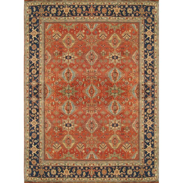 Mahal Hand-Knotted Wool Rust/Navy Area Rug by Pasargad