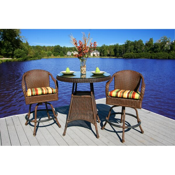 Fleischmann 3 Piece Bar Height Dining Set with Cushions by Darby Home Co