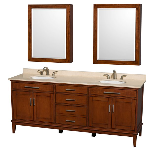 Hatton 80 Double Light Chestnut Bathroom Vanity Set with Medicine Cabinet by Wyndham Collection