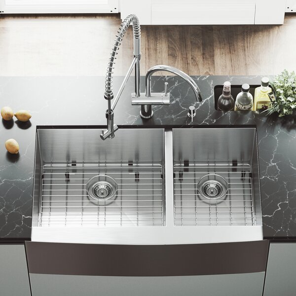 All in One 36 L x 22 W Double Basin Farmhouse Kitchen Sink with Faucet, Grids, Strainers and Soap Dispenser by VIGO